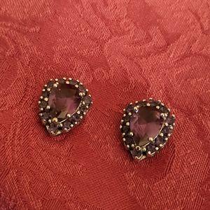 Pair of Large Amethyst Pierced Earrings